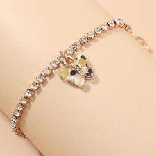 Charm Rhinestone Bangle Bracelet Jewelery New Womens Gold Cute Butterfly