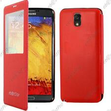 Accessoire Housse Coque Etui S-View Flip Cover Rouge Samsung Galaxy Note 3 N9000