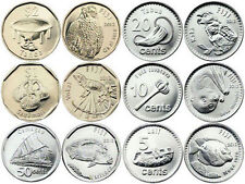 FIJI 6 COINS SET FAUNA ANIMALS 5, 10, 20, 50 CENTS +  1, 2 DOLLAR 2012 UNC