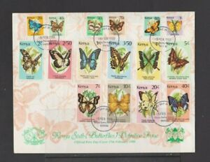 Kenya 1988 Butterflies complete 16v set FDC with insert per scan