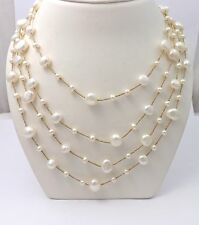 14k Yellow Gold Four Strand Freshwater Button Pearl Long Necklace  Sz 36""