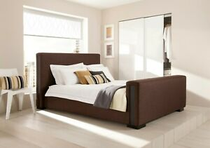 5FT King Size Kaydian Otterburn Mocha Brown Fabric Upholstered Bed
