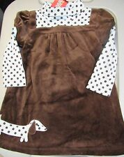 NWT GYMBOREE GIRLS BEST FRIEND BROWN VELOUR BLUE POLKA DOT DOG DRESS 18-24 MO