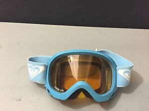 Girls Youth Roxy Snow Goggles Antifog Blue Frame Blue Strap Orange Lens