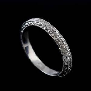 14K Solid White Gold Art Deco Style Engraved Milgrain Wedding Band Ring 2.9 mm