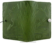 "DRAGONFLY POND Oberon Design Leather Journal 5""x7"" Small fern-green cover JSM11"