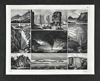 1849 Bilder Geology Print - Hawaii Volcano Coral Island Rhine Source Faroe Rocks