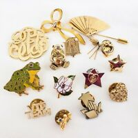 14Pc Vintage Gold Tone Figural Flower Pin Brooch Lot Grab bag - Assortment