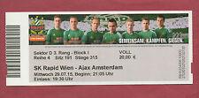 Orig.Ticket   Champions League 15/16   SK RAPID WIEN - AJAX AMSTERDAM !! SELTEN