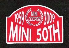 Mini Cooper 1959-2009 50th Anniversary Sticker, Vintage Sports Car Racing Decal