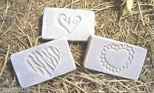 "3 heart plastic molds plaster cement resin wax casting 3.25"" x 2.25"" x 3/4"""