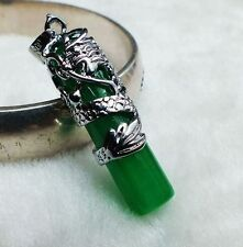 Natural jade carved inlaid dragon pendant