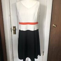 Anne Klein Dress 16 White Sleeveless Color Block Fit N Flare Zip Back NWT $129