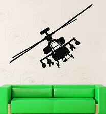 Wall Stickers Vinyl Decal Helicopter Apache Fighter Military Decor (ig818)