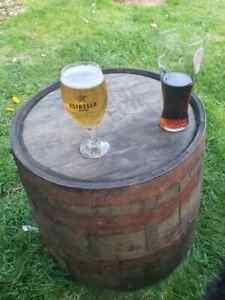 FLAT TOP Oak Whiskey Half BARREL - Ideal Garden table, Coffee table , Side stand