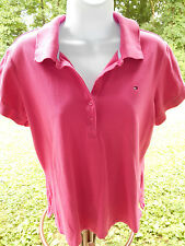 REDUCED Tommy Hilfiger Solid Pink Short Sleeve Casual Polo, Cotton Blend Size L