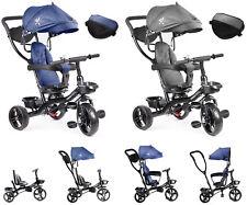 Kinderdreirad Kinderwagen Babydreirad mit Dach Schubstange Sonnenschutz Drei Rad