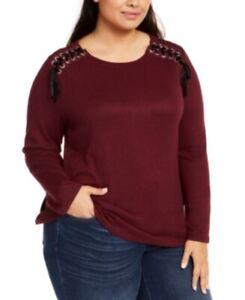 Inc Women's Plus Size 2X Shoulder Velvet Laced Snit Top, Long Sleeve Port NWT