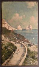 "Capri, Bernardo Hay, Oil on Wood Panel, Late 19th/Early 20th C, 11 3/4 x 6 5/8"""