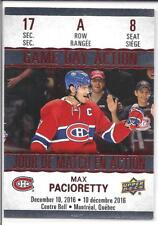 MAX PACIORETTY 2017-18 Tim Hortons Upper Deck GAME DAY ACTION #GDA-8