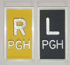 1 SET OF YELLOW AND BLACK XRAY MARKERS WITH LEAD INITIALS