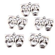 Mask Comedy Tragedy Beads Tibetan Silver Charms Pendant Bracelet 32*20mm 10pcs