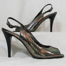 Silver Snakeskin Slingback Open Toe Leather Charles David Heel Size 6