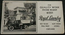 Advertising Blotter ROYAL LAUNDRY PHONE REGENT 6221 - Great Old Delivery Truck
