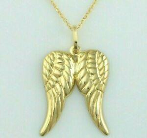 """9ct Yellow Gold Angel Wings Charm Pendant Necklace 16"""",18"""", 20"""" Chain"""