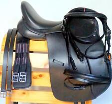 "Dressage Saddle Black Premium Leather 16"" Pkg-4pc Bridle Leather Irons Girth NEW"