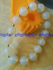 10mm Sri Lanka Moonstone Gemstone With Yellow Gold Beads Bracelet 7.5''