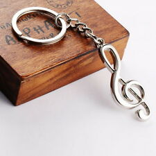 Stainless Steel Metal Treble Clef Musical Symbol Key Ring Key Chain Gift #H