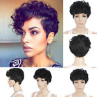New Women Short Chic Pixie Cut Curly Natural Black Highlights Synthetic Hair Wig