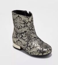NEW Genuine Kids Toddler Girl's Caley Black Gold Metallic Boots Size 7 FREE SHIP