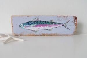 Mackerel on Reclaimed Wood, Seaside, Driftwood Art (31 cm x 9.5 cm)