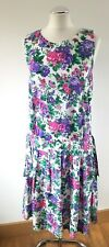 Vtg 80s Floral Drop Waist Bohemian Dorothy Perkins Boho Romantic Dress Fits UK10