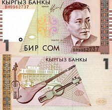 KYRGYZSTAN 1 Som Banknote World Paper Money UNC Currency Pick p15 Bill Note
