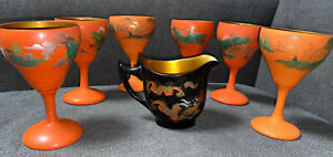 Vintage Chinese Foochow Lacquer Gold Interior 6 Glasses and Creamer
