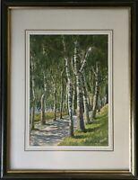 Impressionist Birkenallee Bäume im Frühling M. Niederstadt Aquarell 44 x 34 cm