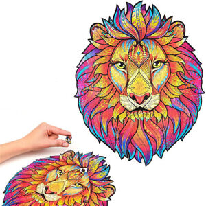 Lion Wooden Jigsaw Puzzle Pieces Interactive Cartoon Adult Children Toy Gift