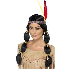 Womens Indian Wig w Pigtails & Headband Fancy Dress Pocahontas Disney Cowboys