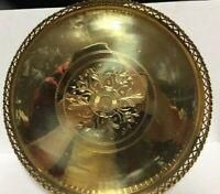 "Antique Round Ornate Solid Brass Tray Vintage Serving Plate Platter 12"" diameter"