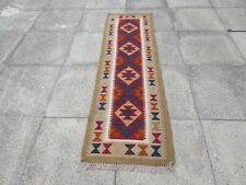 Kilim Vintage Traditional Hand Made Oriental Red Short Kilim Runner 198x60cm