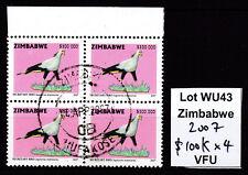 Zimbabwe 2007 Birds $100,000 top value in Block of 4, VFU (WU43)