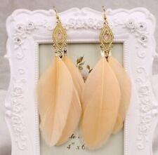 Earring Boho Festival Party Boutique Uk Beige Nude Feather Luxury Large Fashion