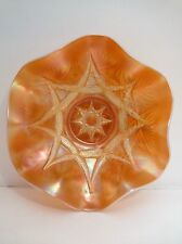 "ANTIQUE DUGAN GLASS SKI STAR PEACH OPALESCENT CARNIVAL LARGE 11"" RUFFLED BOWL"