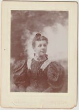 GIRL FROM THE DAY Cabinet Card FOUND PHOTO bw FREE SHIPPING Portrait WOMAN 82 50