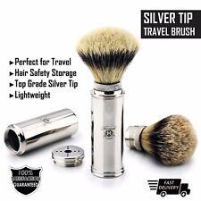 Men's Shave Silver tip Badger Hair Travel Shaving Brush Stainless Steel Handle