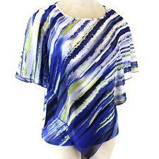 Avenue Plus Size Striped Blue Blouse Sheer Poet Sleeve Tank 26/28
