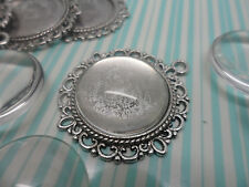 10 x 20mm Silver plated Pendant Kit.35x32mm settings & clear glass cabochons